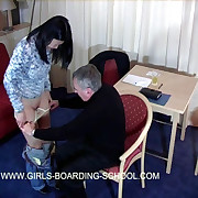 Pretty Asian girl spanked on her bare sub by older guy