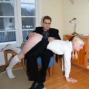 Essential schoolgirl spanked severely with the carpetbeater
