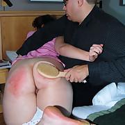 A servere embarrassing brush castigating for a big bottomed Cutie