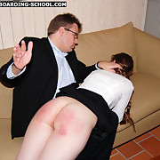Cute long-haired schoolgirl gets her big forth irritant spanked