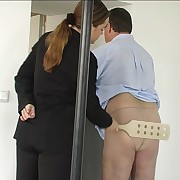 PVC clad vixen paddles the naked ass be advisable for poor sponger in torment