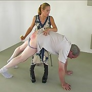 Lamenting guy spanked over the knee of cruel blonde bitch - hot burning duff