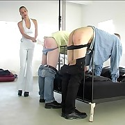 Two guys bend over with their pants with reference to for keen strapping added to paddling from cute unsubtle