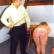 Two unconcealed assed babes caned hard cincture their upturned cheeks