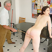 Two young beauties spanked and caned unaffected by their bare bottoms