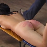 Naked young beautiful paddled and caned on her bare ass bent abandon an obstacle exercise bench