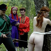 Young girl roughcast bound with an increment of spanked in the deep russian forest