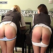 Strict headmistress spanks added to paddles two exposed bare bottoms - magnificent left side butocks