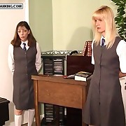 Pretty school girls forced to remove their camiknickers added to bend over for hammer away cane