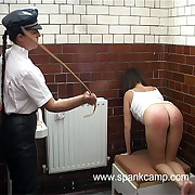 Shower acreage caning for two messy girls - well striped bedraggled asses