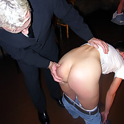 Twosome girls bend over be expeditious for a spanking thither their knickers around their ankles