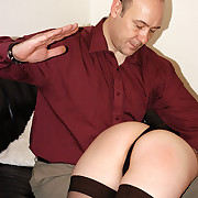 Hard bare bottom slippering for pernicious housewife - sore red cheeks