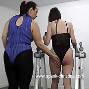Horny brunette spanked on be transferred to brush luscious ass in be transferred to gym - flaming red buttocks