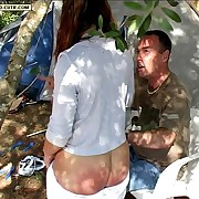Drunken slut gets her yummy ass paddled at hammer away camp - knickers down beating