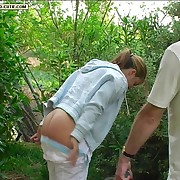 Slippered on her bare bottom beside a difficulty garden - teen cutie beside tears