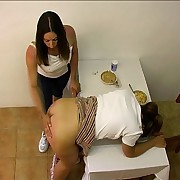 Pretty unspecified spanked over the breakfast table with the brush panties around the brush ankles - blistered cheeks