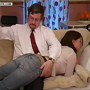 Elegant girl spanked in the front room on her quivering tender cheeks - bright pink buttocks