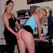 Cute blonde spanked caned and strapped on her large naked slave