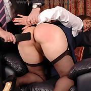 Dissolute flapper has depraved spanks on her buttocks