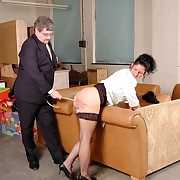 Raunchy chick has heavy spanks on her bottom