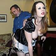 Ravishing skirt has her bum punished