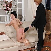 Filthy doll gets savage whips on the brush keister