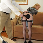 Voluptuous cotquean gets brutish spanks on her fail