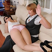 Voluptuous skirt gets stern spanks on their way tail