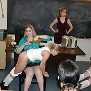 Prurient soubrette gets hellish spanks on her tush
