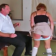 cute beauty in nylons receives bent over and spanked in German