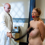 Huge milk sacks redhead girl dominated and fucked in perverted clinic.
