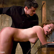 Master and domina torment female slave