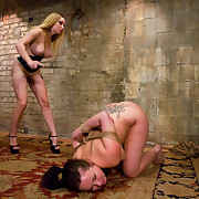 Slave gal trained to service sadistic dom and Mistress