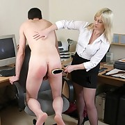 Sprog spanked office boy by hairbrush