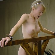 Blonde babe gets tied and whipped