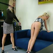 Blonde gets spanked by girlfriend