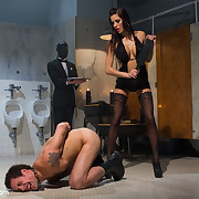 The lady dominated her husband by cuckolding and spanking and strapon