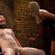 immoral babe makes her sub watch her fucking