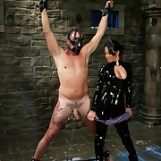 Sandra Romain rough-spoken in Negroid latex is fucked her slaveboy`s exasperation hard