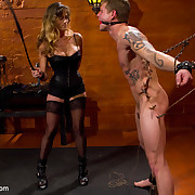 Strict darksome leather mistresse wanked a man, fucked him added to smohered