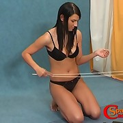 Slender French chick likes her bootie caned and red