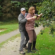 An apple thief milf was punished by angry farmer