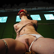 Bound and gagged slut was severely flogged