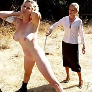 Outdoor spanking of bad sluts