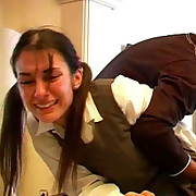 Naughty schoolgirl is crying when punished with hard paddling