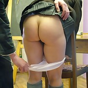 Blonde teen schoolgirl was spanked otk in the class-room
