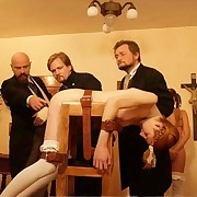 Three perverted professors caned and paddled tied schoolgirls