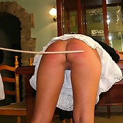 Caning of blonde teen girl