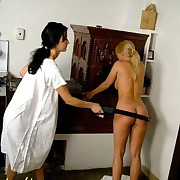 Blonde and brunette spanking