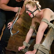 Slave bound, gagged and fucked hard
